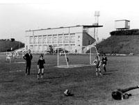 Beim Fußballspielen im Sportforum 1979